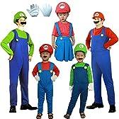 パーティーフリークGO!GO! 赤いつなぎ 大人用 3点セット (衣装+帽子+ひげ) コスチューム フリーサイズ