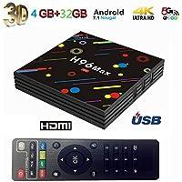 Androidのテレビボックス TV BOX 4GB + 32GB H96 MAX スマート4K TVボックスAndroid 7.1 K18.0 RK3328クワッドコア ブルートゥース4.1デュアルWifi LEDスクリーンセットトップボックスは、3D 4K超HD TVAndroid tv box (H96 Max)