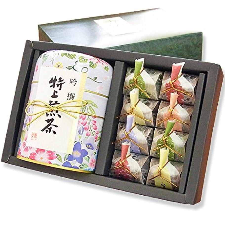 冷蔵庫味方どんなときもお茶のモリタ園 花柄缶の美味しいお茶ギフト「はなこまち」シリーズ「は」 茶葉仕様1種と羊羹(煎茶80g)/ お届け日時指定対応可能