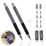 aibow 極細 2in1 ディスク スタイラスペン タッチペン2本+交換用ペン先6個 iPhone iPad Android (ブラック)
