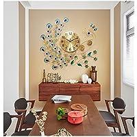ウォールクロックピーコッククリエイティブリビングルームベッドルームモダンデザインサイレントクォーツホームインテリアブルー