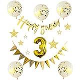 しあわせ倉庫 誕生日 かざりつけ バルーン バースデー ガーランド 数字 セット パーティ (3歳)