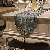 レース テーブルランナー ホームデコレーション 刺繍 豪華 工芸品 おしゃれ 長方形 エレガント 結婚式 クリスマス (Color : Gray, Size : 32×180cm)