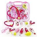 SONi お医者さんセット お医者さんごっこ遊び 光る響く聴診器 口腔鏡 耳鏡 体温計 10点セット 女の子 ピンク 人気おもちゃ 子どもの誕生日プレゼント 入園のお祝い