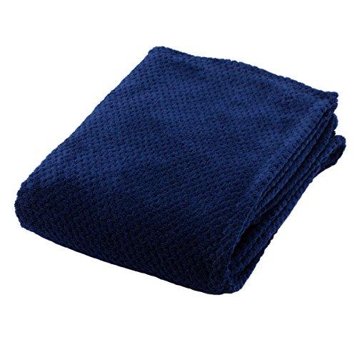 フランネル 毛布 鹿の子織 洗える ワイドシングル 150x200cm ネイビー