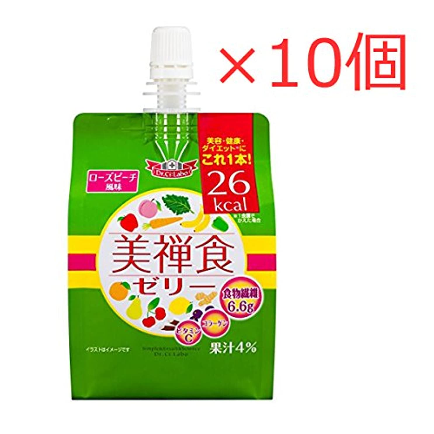 トランクライブラリボイラー交換ドクターシーラボ 美禅食ゼリー (ローズピーチ風味) 200g×10個セット