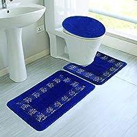 Elegant Home 刺繍バスルームラグ3点セット 浴室ラグラグマット、輪郭マット、蓋カバー 滑り止め ゴム裏地 #5A ブルー