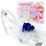 TEATSIGHT プリザーブドフラワー 花とスイーツ ギフトセット ガラスの靴 バラ ブルー 羽根