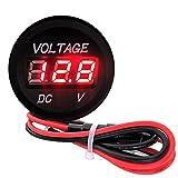 デジタル表示 小型電圧計 【レッド】 12V-24V /車 バイク 船舶 ac373-02