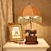 テーブルランプ テーブルランプヨーロッパスタイルのランプベッドルームのベッドサイドランプテーブルランプの研究レトロ裕福な湘潭ランプ 寝室 照明 (色 : ディマースイッチ)