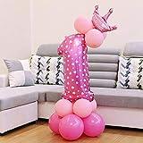 Hanakaze ピンク 1歳 誕生日 飾り付け 13点 王冠 数字アルミバルーン きらきら 華やか おしゃれ バースデー デコレーション 男の子、女の子