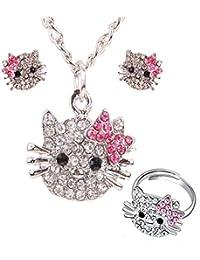 ZARABE 1setダイヤモンドCute Little Catペンダントネックレス&イヤリング&リングジュエリーセット
