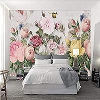 Weaeo カスタム3D写真壁紙壁画3D壁紙ヨーロッパのヴィンテージ手描きの植物の花カスタム3D壁家のインテリア-280X200Cm