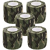 【Yuuming】カモフラージュテープ 伸縮 粘着 迷彩柄 (森の迷彩, 5枚)