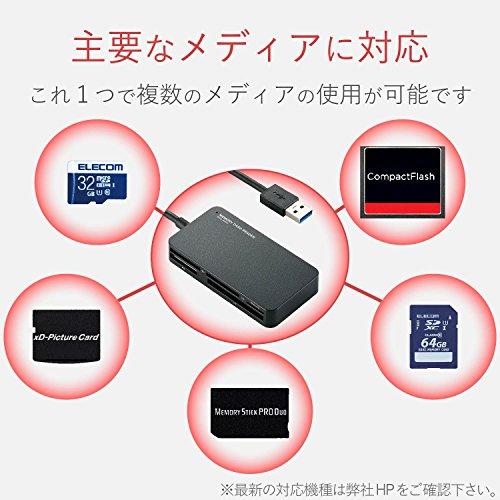 『エレコム カードリーダー USB3.0 9倍速転送 スリムコネクタ ケーブル一体タイプ ブラック MR3-A006BK』の1枚目の画像