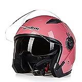 バイクヘルメット Bike Helmet ジェットヘルメット メンズ レディース JIEKAI 半帽 バイク用 ハーフ シールド付き 男女兼用 jk17051603 ピンク/XL