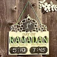 IftarとSuhoorタイムマーキングが付いているラマダンプラークの木のイスラム教徒の日吊り板装飾ラマダンプラーク