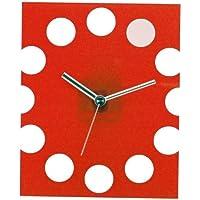 いけだ 掛け時計 クリスタルスクエアクゥオーツ レッド 56052