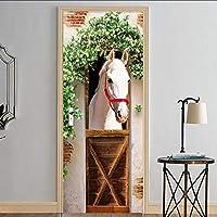 Lixiaoer 3Dホワイトホースフォト壁画壁紙ドアステッカー防水リビングルームの寝室のドアステッカー家の装飾-120X100Cm