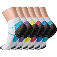 Compression Socks (3/6/7 Pairs) for Women and Men Sport Plantar Fasciitis Arch Support Low Cut Running Gym Compression Foot