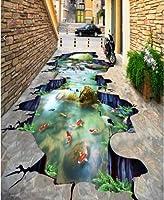 C584 巨大 3D フロアマット 1m*1m* 和モダン 形成池 鯉 滝 風景 景色 リフォーム 防音 断熱 滑り止めシート 床 壁 天井 はがせるシール
