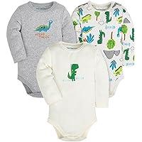 Baby 3-Pack Cotton Boys Girls Long Short Sleeve Bodysuits,Gray/White/Green