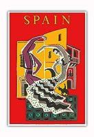 スペイン - フラメンコダンサー - ビンテージな世界旅行のポスター によって作成された ベルナール・ヴィユモ c.1957 - アートポスター - 33cm x 48cm