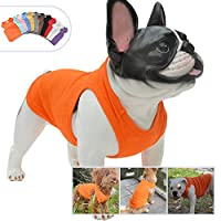 lovelonglong犬の純粋な綿のTシャツ、快適な無地犬のベストの小さい中・大型犬のための通気性の綿の不足分の袖のTシャツ Orange-L-XL