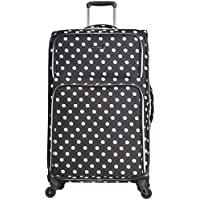 "Heritage Travelware Women's 28"" Polka Dot Printed 600d Polyester Expandable 4-Wheel Checked Luggage, Black"