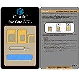 Ciscle Nano SIM MicroSIM 変換アダプター 4枚セット iPhone5S/5C/5/4S/4/3GS/3 xperia スマホ 拡張 便利 micro 全部入り 交換 代替 (ゴールド)