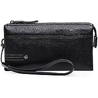 Men's Soft Leather Lychee Clutch Bag Large Capacity Long Wallet (Color : Black, Size : Size)