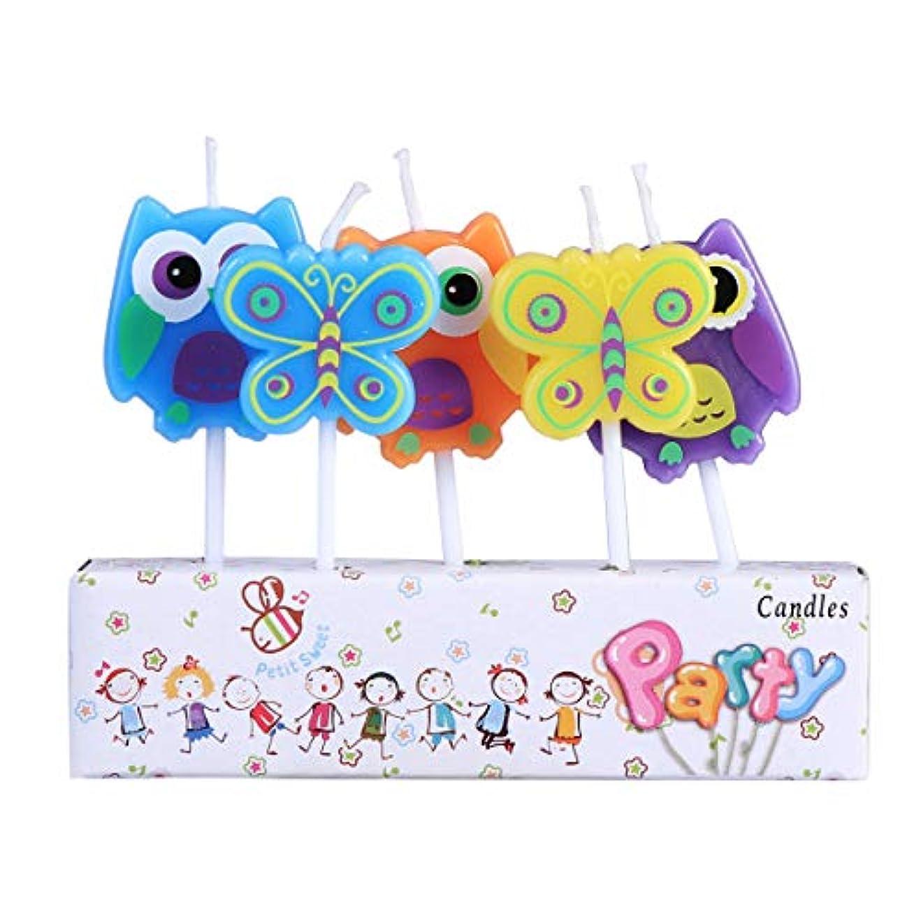 観察する口述抹消BESTOYARD 子供の誕生日の装飾のための5本の動物の誕生日ケーキのろうそく(フクロウ蝶形)