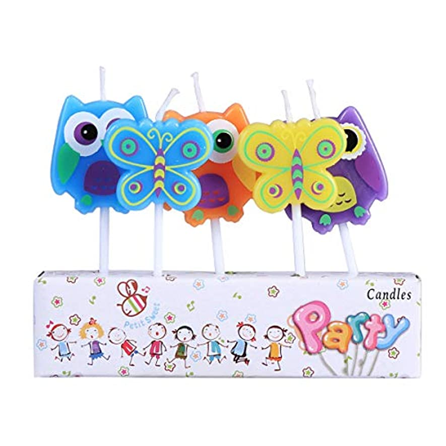 トリムキャプションパーティーBESTOYARD 子供の誕生日の装飾のための5本の動物の誕生日ケーキのろうそく(フクロウ蝶形)