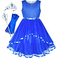 Sunny Fashion Flower Girls Dress Blue Belted Wedding Party Bridesmaid Size 4-12 Years