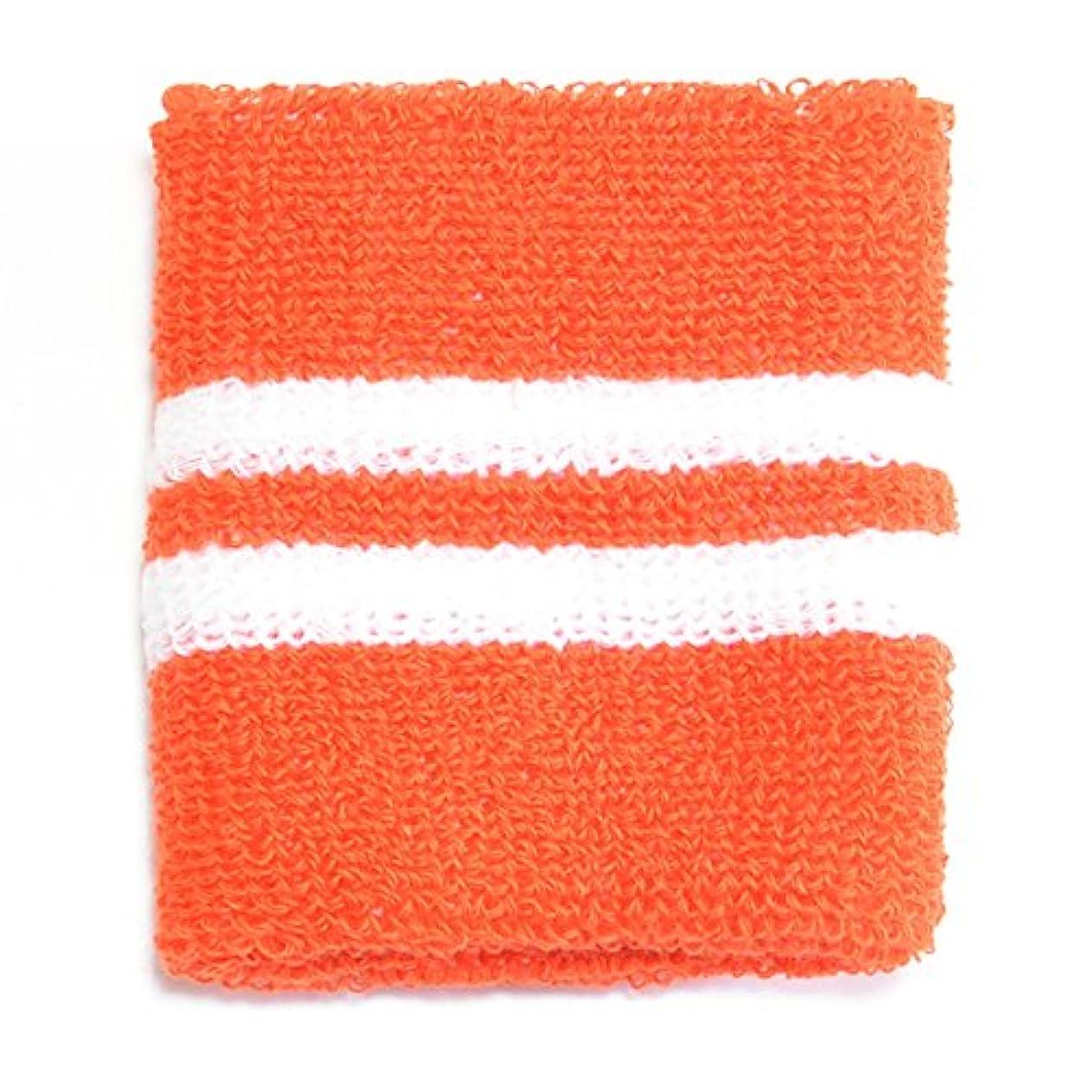 無条件乞食衝突コースリストバンド 大人用 wristband-07-19.オレンジベース白ライン / スポーツ ダンス リストウォーマー
