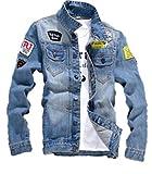 (ナチュシー) NatuSe メンズ ジャケット デニム ジージャン ブルゾン ワッペン カジュアル トップス アウター (04 2XL)