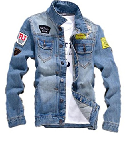 (ナチュシー) NatuSe メンズ ジャケット デニム ジージャン ブルゾン ワッペン カジュアル トップス アウター (01 M)