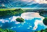 1000ピースジグソーパズル ブレッド湖~湖上の小さな教会~(26×38cm)マイクロピース