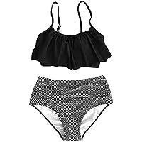 CUPSHE Women's Solid Top Stripe Bottom Falbala High-Waisted Bikini Set Push Up Swimwear