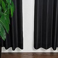 窓美人 ステップLight ドット ストライプ 柄カーテン ブラック 2枚組 幅100×丈135cm フック タッセル おしゃれな柄 子供部屋にも