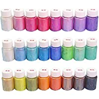 SUPVOX 24Pcs Mica Powder Pearl Natural Pigment Set for Soap Making Nail Art 10g/Bottle