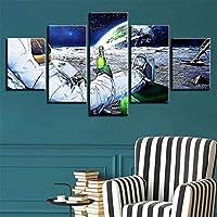 アートパネル宇宙人 おしゃれポスター 壁キッズルーム装飾感謝祭ギフト(パインウッドフレーム)30x50cmx2,30x65cmx2,30x80cmx1