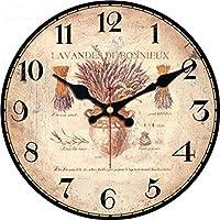 ベル 地図デザイン大きな壁時計サイレントリビングルームの花のコーヒー壁の装飾サアトホームデコレーションウォッチウォール 壁掛け時計 (Color : 12746, Sheet Size : Diameter 16inch)