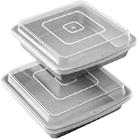 (1, 23cm 2-Pack) - Wilton Recipe Right Square Non-Stick Covered Brownie Pan Multipack, 23cm . x 23cm .
