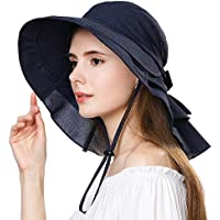 Ladies Summer Sun Hat Cap UPF 50+ Ponytail Large Brim with Neck Cover Bill Flap Cord for Women Navy