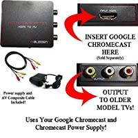 Googleクロームキャスト用HDMI変換器 コンポジット入力(赤/白/黄)の古いテレビでクロームキャストを利用変換器、電源アダプターケーブル、コンポジットビデオケーブル付き。[注意:クロームキャストは別途お求めください]