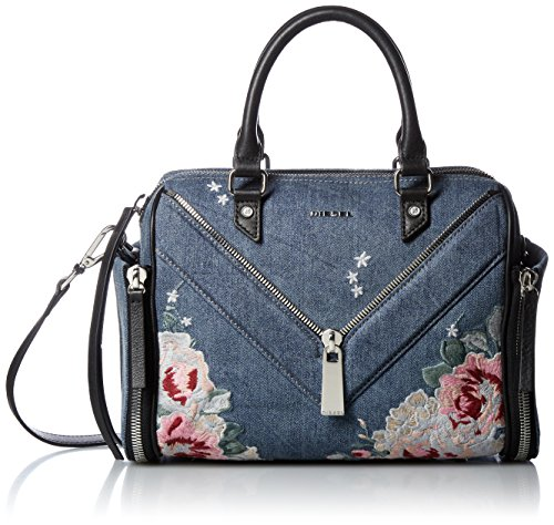 (ディーゼル) DIESEL レディース フラワー刺繍 デニム ハンドバッグ LE-ZIPPER LE-TRASY - handbag X04847P1374 T6023 UNI