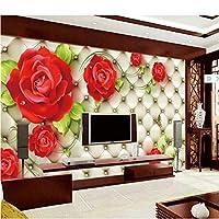 Wuyyii カスタムクラシック写真壁紙3Dエンボスソフトパックレッドローズ美しい花壁画リビングルームウェディングハウスホームインテリアフレスコ画-200X140Cm