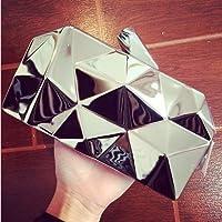 Gloneer - 高品質ファッションハンドバッグの女性のメタルクラッチ の六角ミニパーティーブラックイブニング財布シルバーバッグゴールドボックスクラッチ3色 [銀 ]