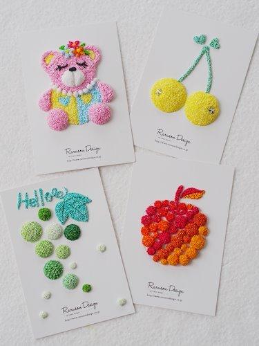 【ラルソンデザイン】ポストカード クレイキット(りんご、さくらんぼ、ぶどう、くま)
